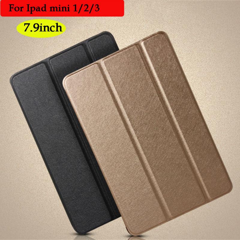 For ipad mini Case Ultra Slim PU Leather Smart Cover Case Transparent Back Case for iPad mini 1/2/3 Tablet Case for ipad mini