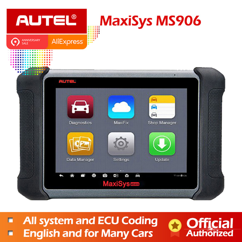 Autel MaxiSys MS906 OBD2 Scanner Automotive Diagnostic tool MS 906 key programming code reader OEM tools key coding Gift AL539B-in Engine Analyzer from Automobiles & Motorcycles