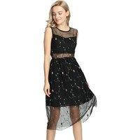 Черный Вышивка цветок сетка по колено платье Летние Элегантные выдалбливают Повседневное Платья для женщин пикантные женская одежда vestidos ...