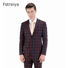 Custom made 150s Wool men suit  with pants high quality customes windowpane check Suit for wedding clothing mens tailored