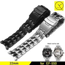 510ec7bcc53 316L de Aço Inoxidável Pulseira de Pulso Pulseira Implantação Buckle para  Casio EF-550 EF-550D Dos Homens 22mm Prata Preto Watch.
