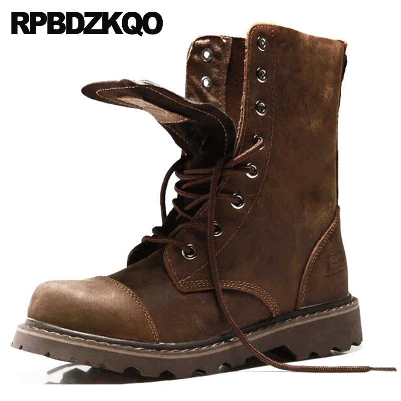 high quality combat autumn mens winter boots warm chunky brown lace up retro military fur mid calf shoes army full grain leatherhigh quality combat autumn mens winter boots warm chunky brown lace up retro military fur mid calf shoes army full grain leather