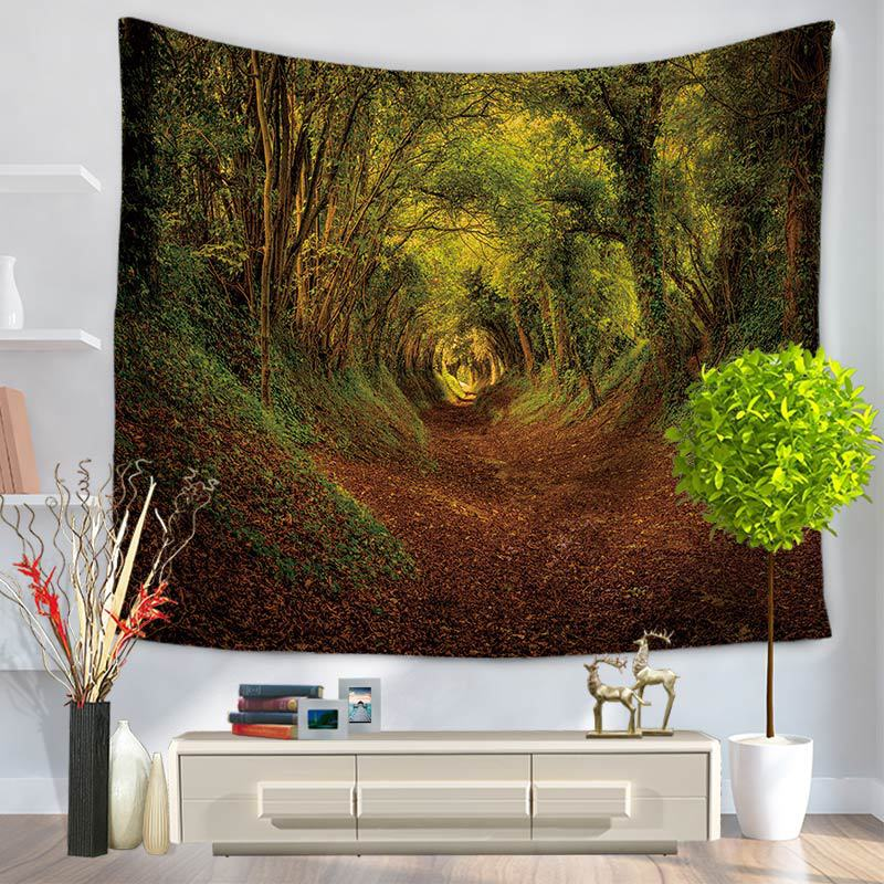 Cammitever Forest Tree Maple Mountain Leaves Tapestry