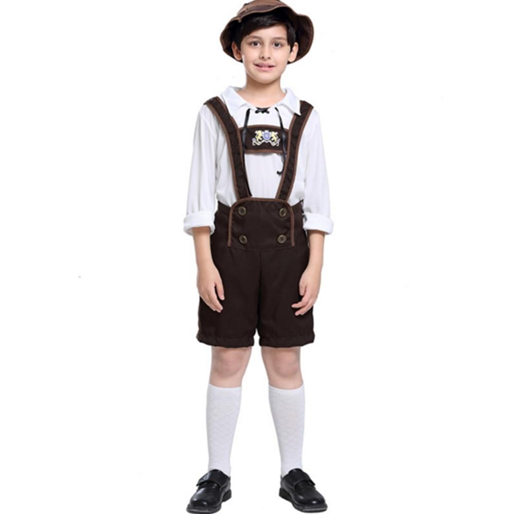 FINDPITAYA Children's Oktoberfest Boy Performance Costume Halloween Alpine Folk Drama Stage Cosplay Set:Tops + suspenders + hats