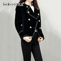 TWOTWINSTYLE OL Style Short Woolen Blazer For Women Winter Thick Plus Size Top Double Breasted Black