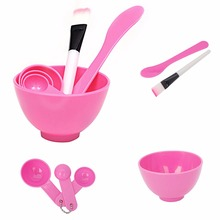 New 1Set DIY Homemade Mask Bowl Gauge Spoons Brush Appliances Set Pink For Women Grooming