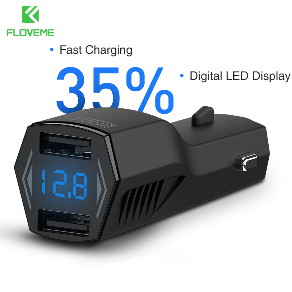 FLOVEME 4.8A Dual USB Car Charger Digital LED Display Car-charger Adapter For iPhone X 8 Samsung S8 Note 8 Mobile Phone Chargers