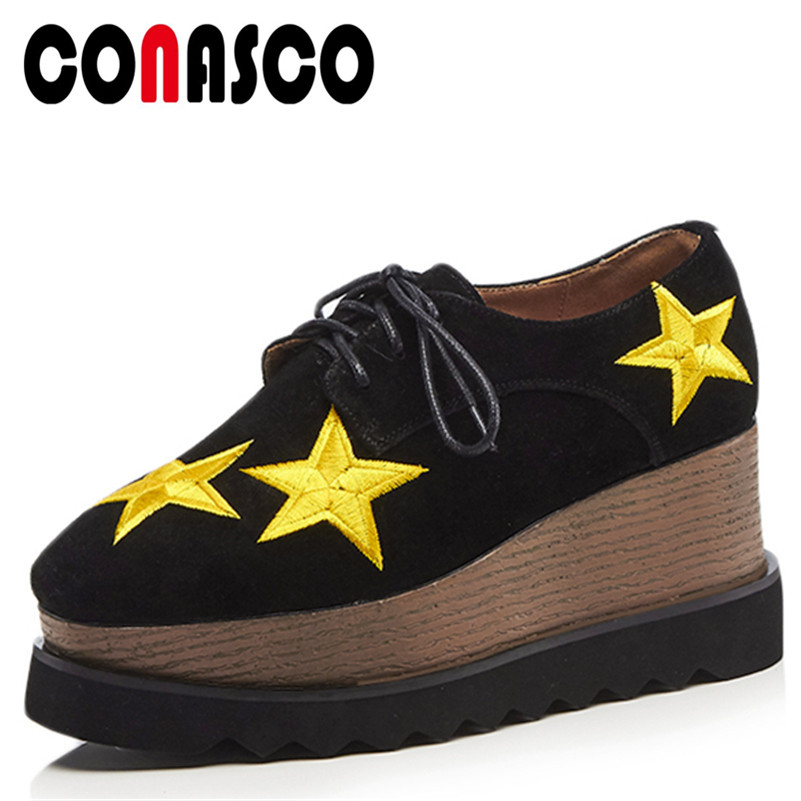 CONASCO New Arrival Women Basic Pumps Suede Leather Wedges High Heels Shoes Woman Round Toe Platforms Casual Quality Brand Shoes