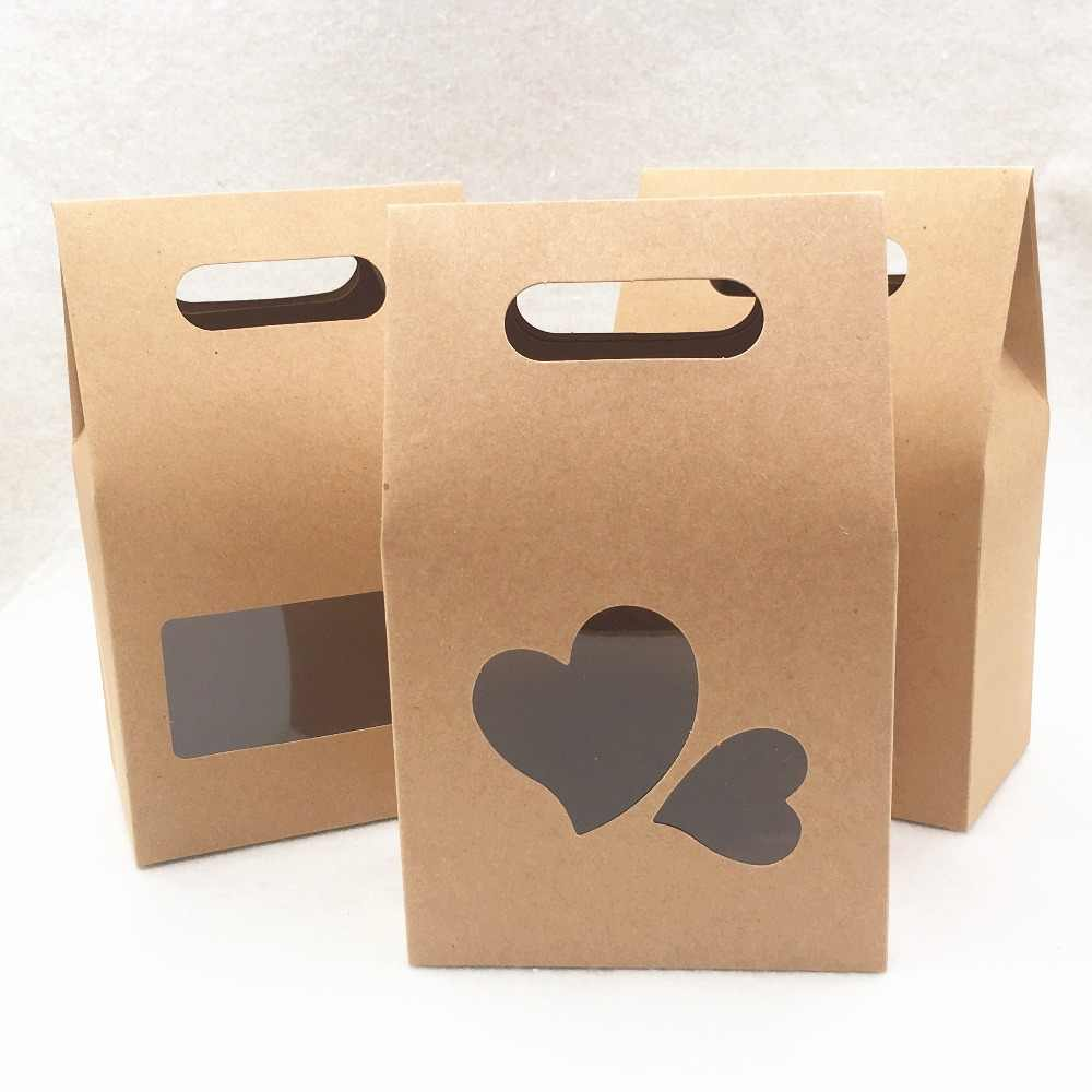 2d89df4654c 10*16*6cm 20pcs stand up window brown kraft paper bags boxes recyclable for
