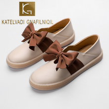 KATELVADI Plus Size 34-41 Women Flats Shoes Loafers Beige PU Slip on Butterfly Knot Flat Comfortable Ladies K-457