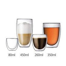 Hitzebeständige Doppelwandigen Glaskaffeetasse Tee Bier Tasse Handgefertigte Kreative Transparent Drink Copo Caneca Criativa Drink