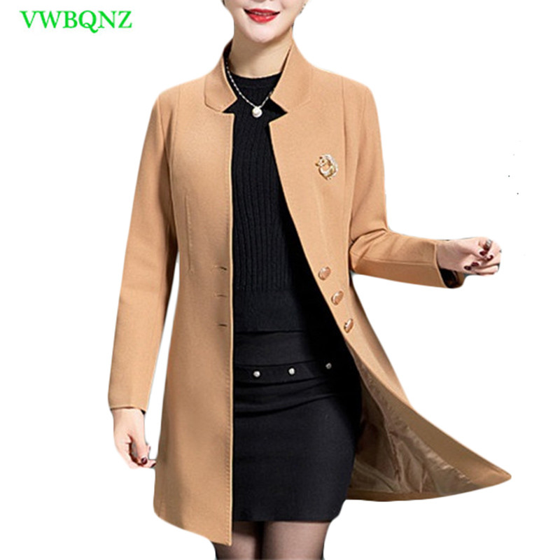 Middle-aged Women Windbreaker Coat Spring Autumn Long Cardigan Top Womens Fashion Standing collar Plus size   Trench   Coats 5XL 417