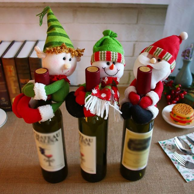 2018 new christmas wine bottle cover snowman santa claus bottle cover dinner table christmas decorations for