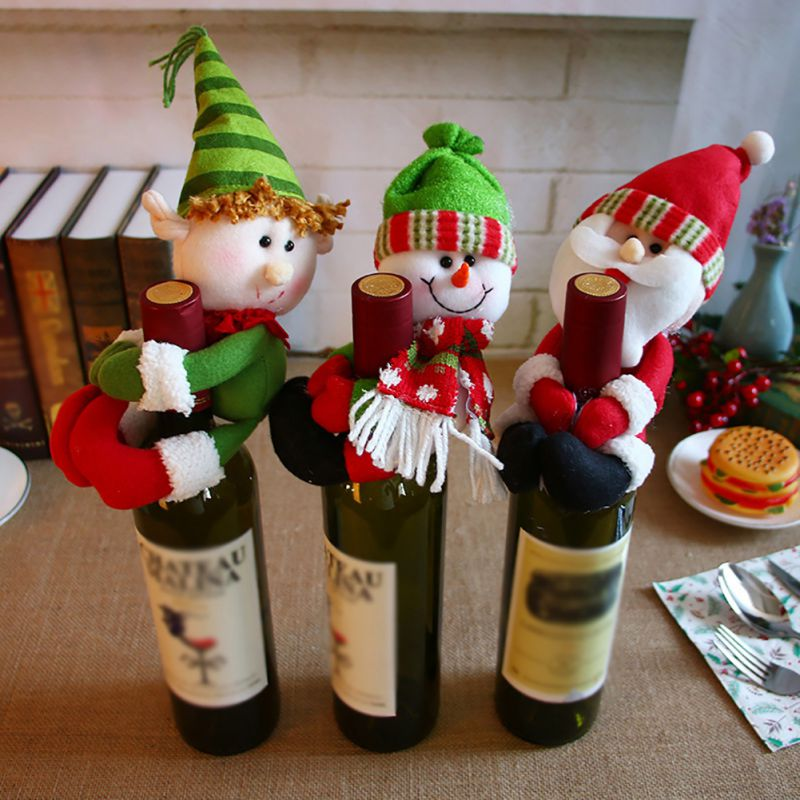 2019 New Christmas Wine Bottle Cover Snowman Santa Claus Bottle Cover Dinner Table Christmas Decorations for Home Xmas Ornaments