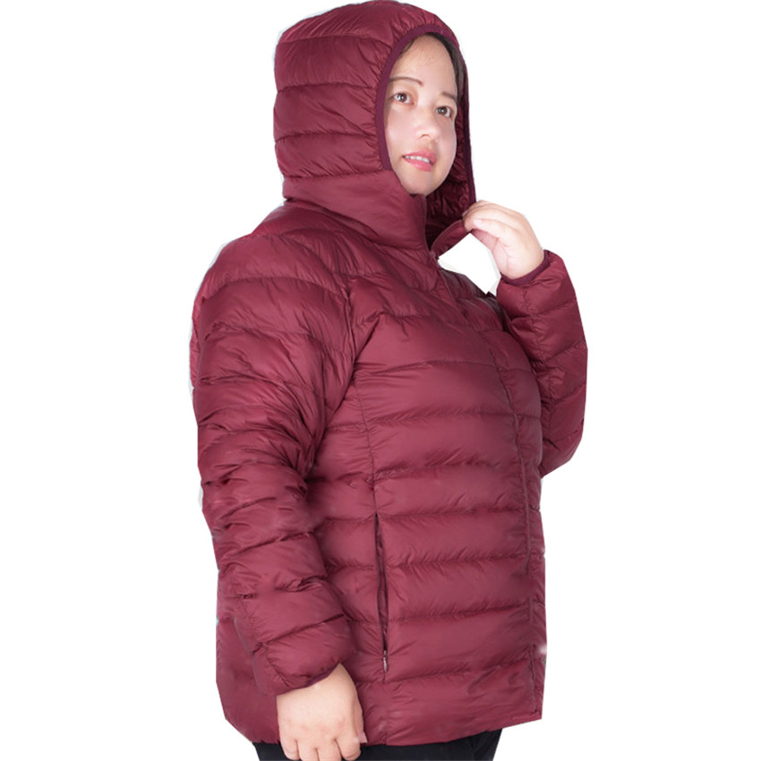 Plus Size S-7XL Women Ultra Light Down Jacket Autumn Winter Hooded White Duck Down Outerwear Parkas Warm Thin Short Coat SF824