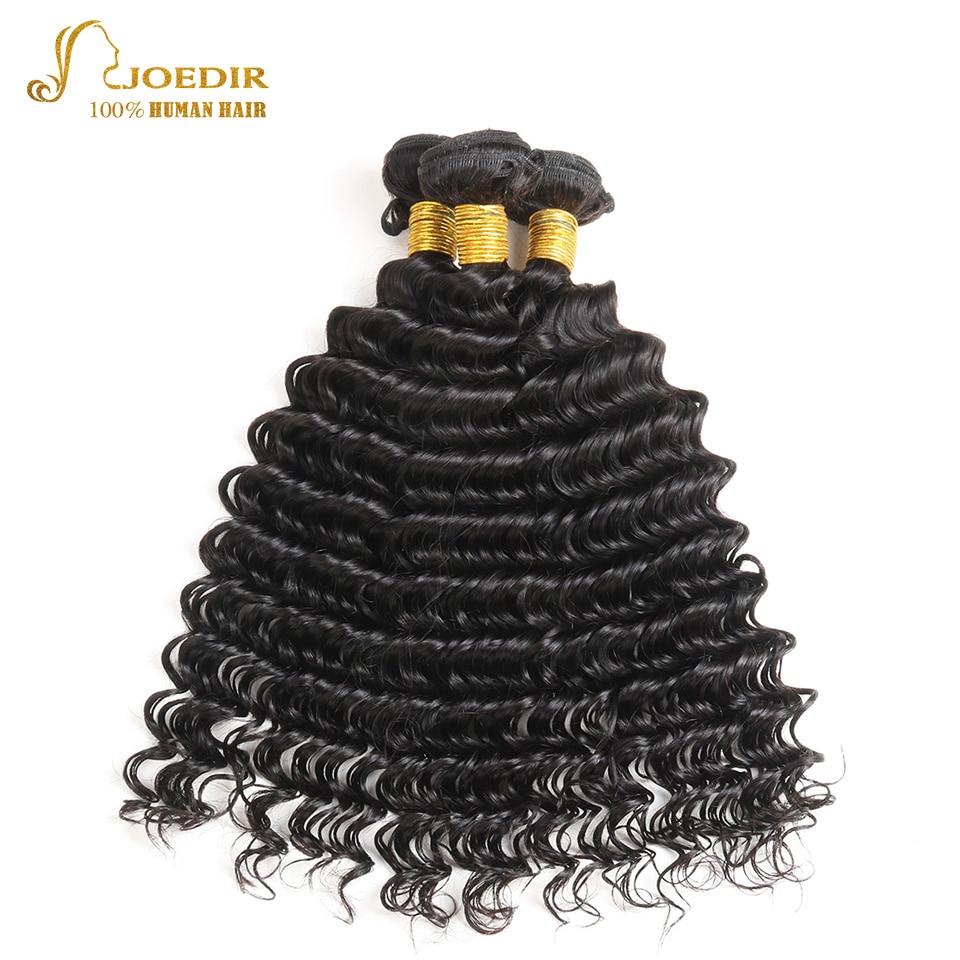 JOEDIR Hair Deep Wave Peruvian Hair Weave 3 Bundles Deal 10-26 Inch Natural Black Non Remy Human Hair Extensions