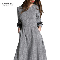 2017 المرأة ماكسي فستان طويل الملابس رمادي تونك مساء حزب سوينغ الخريف الشتاء جيب ملابس السيدات اللباس الإناث