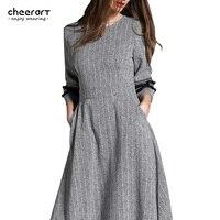 2017 mujeres largo maxi dress ropa gris túnica partido de tarde oscilación otoño invierno pocket ladies dress mujer ropa