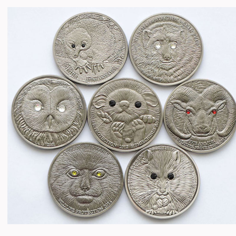 New Mix Mongolia 500 Togrog Wildlife Protection Coins Set 7 Sets/lot