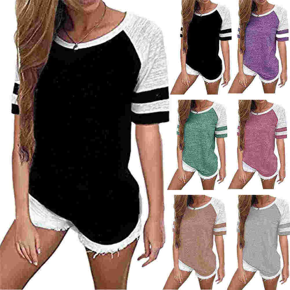 Женская футболка контрастный свободный короткий рукав круглый вырез Летний Пляжный топ KNG88