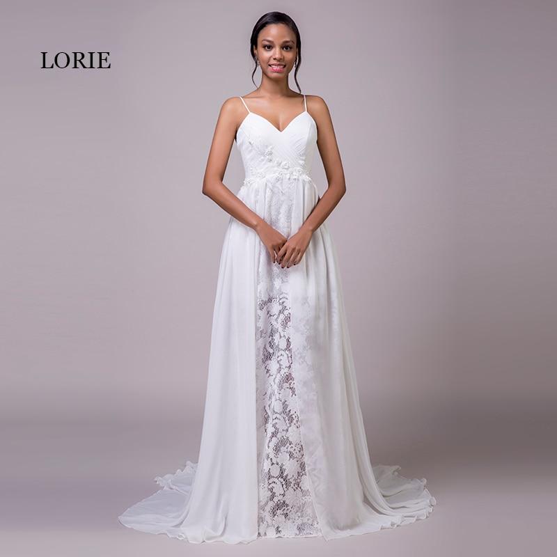 LORIE Beach Wedding Dresses Spaghetti Strap Cheap Appliques Lace Sweep Train White Chiffon Bridal Dress Lace Wedding Gown 2018