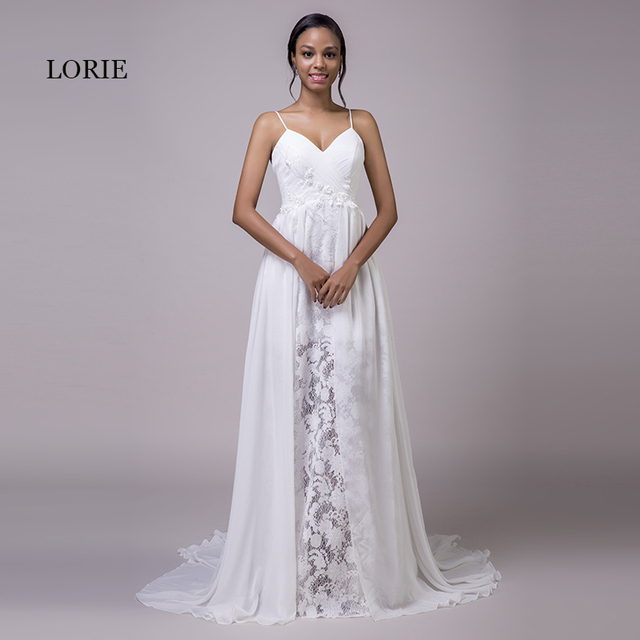LORIE Beach Wedding Dresses Spaghetti Strap Cheap Appliques Lace ...