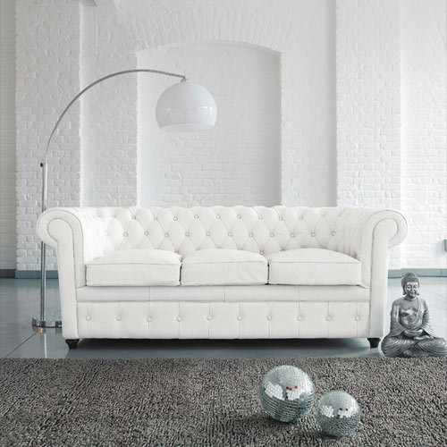 Surprising Buy U Best High Quality White Leather Chesterfield 3 Seater Short Links Chair Design For Home Short Linksinfo