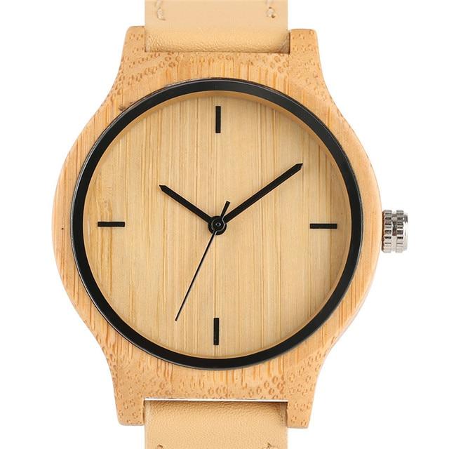 50816ea20b9 2018 Relógio De Pulso Artesanal de Bambu Natural de Madeira Relógios de  Quartzo Senhora Tamanho Simples