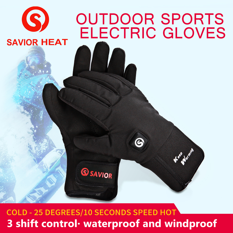 SAVIOR Winter Warm Outdoor Sports Bicycle Electric Gloves Safe Waterproof And Beathable 7 4V 2200MAH Lithium