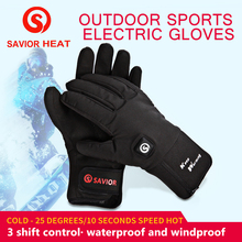 SAVIOR Winter Warm Outdoor Sports Bicycle Electric Gloves Safe Waterproof And Beathable 7.4V 2200MAH Lithium Battery Heating 2018 savior safety health battery heating cap winter heating cap bicycle riding elderly