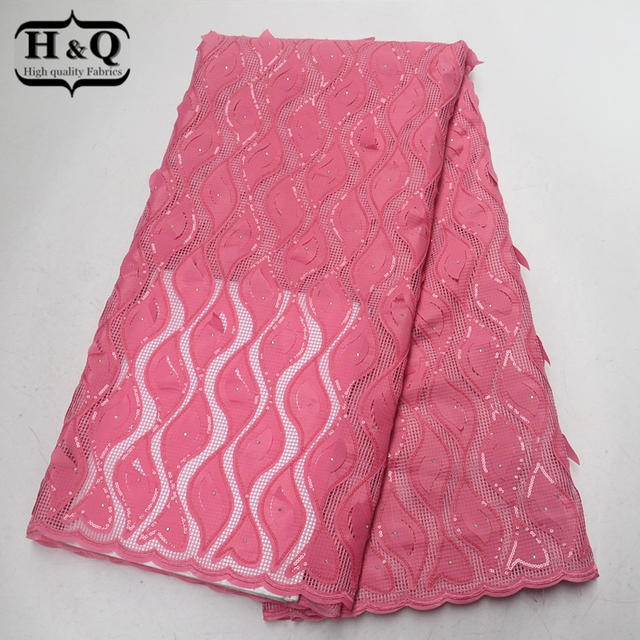 H&Q Pink African lace fabric best quality French Net Lace fabric With Sequins and Stones 5 yards/pcs for Clothing,Women dress