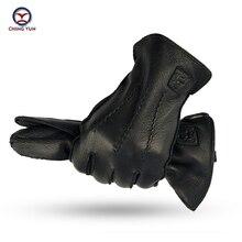CHING YUN Winter Man Deer Skin Leather Gloves Buckskin Male Warm Soft Mens  Black Wave pattern Mittens 70% Wool Lining WZ02