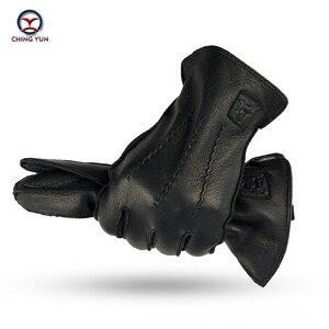 Image 1 - CHING YUN Winter Man Deer skórzane rękawiczki Buckskin męskie ciepłe miękkie męskie czarne wzór fali rękawiczki 70% wełna Lining WZ02