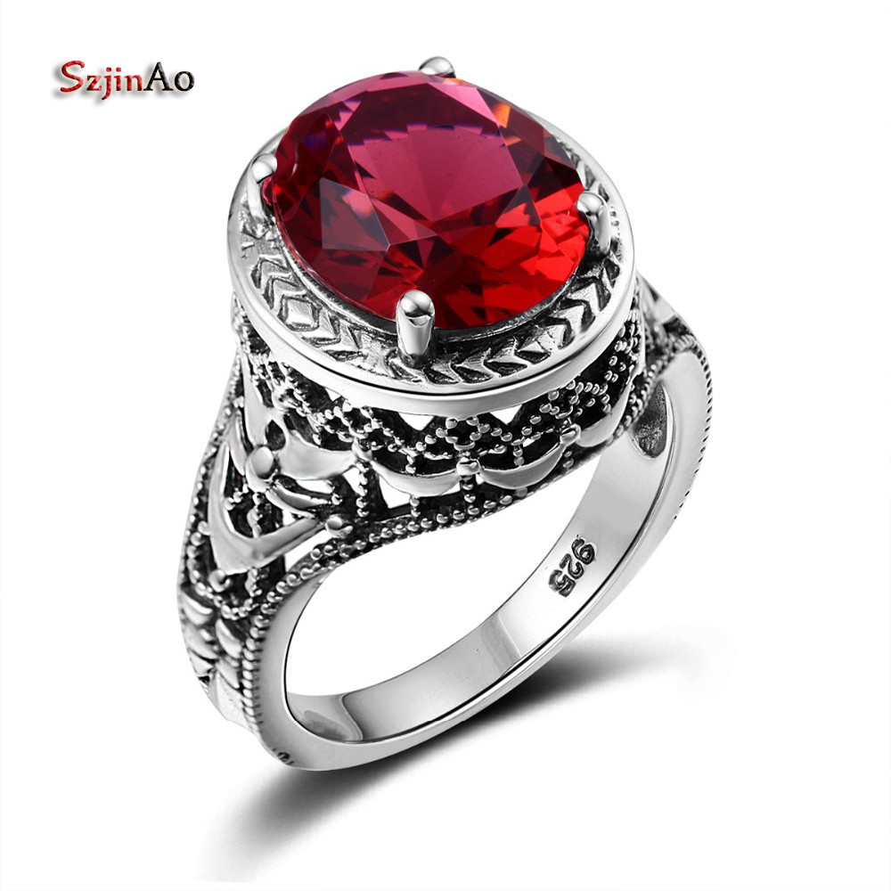 Szjinao Spartan Vintage Jewelry Oval Red Ruby Flower Rock Handmade Pure 925 Sterling Silver Rings For Women prata caveira handmade stripe pattern exaggerated flower leaves rings wide real pure 999 sterling silver rings for women lady vintage jewelry