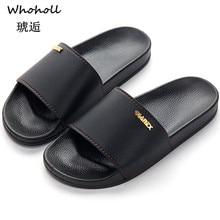 где купить Whoholl Men Slippers Summer Beach Male Slides Women Non-slip Flip Flops Striped Style Outdoor Indoor Sandals for Couple Soft 48 по лучшей цене