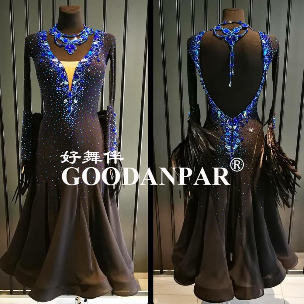 Ballroom  Competition Dance Dresses NEW Design Woman Modern Waltz Tango Dance Dress Standard Sexy Dress Royal Blue GOODANPAR
