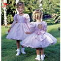Vintage Princess Flower Girls Dresses V-Neck Balloon Long Sleeve Pageant Open Back With Bow Lace Applique Party Dresses 2017