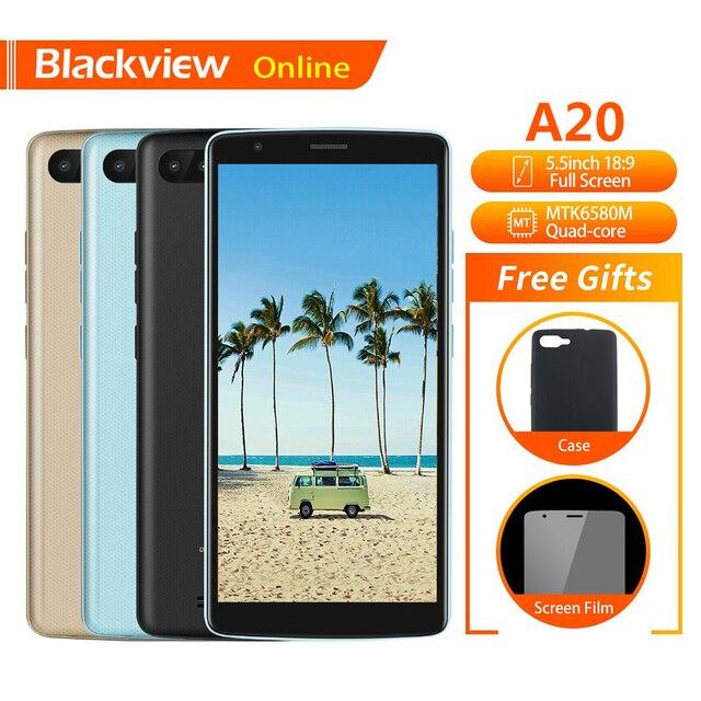 "Blackview Original A20 Mobile Phone 5.5"" 1GB+8GB MTK6580M Quad-Core Android GO 18:9 Full Screen Dual SIM Fashion Slim Smartphone"
