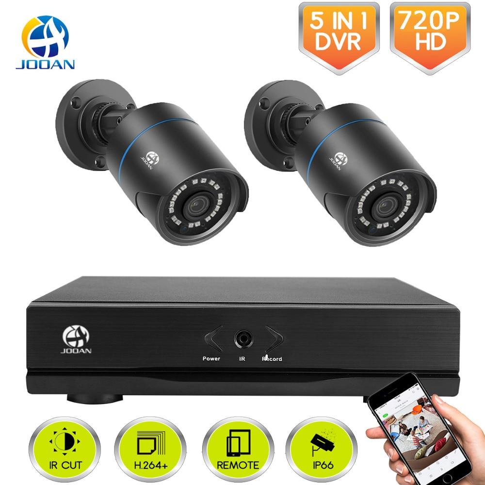 JOOAN камера безопасности системы открытый 4CH DVR и 2 шт. 720 P s, товары теле и видеонаблюдения для легкого удаленного просмотра