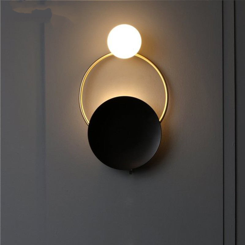Post-modern Wall Light Fixture Nordic Retro Bedside LED Wall Lamp Art Brass Foyer Background Bedroom Lamp Wall Sconce Lighting