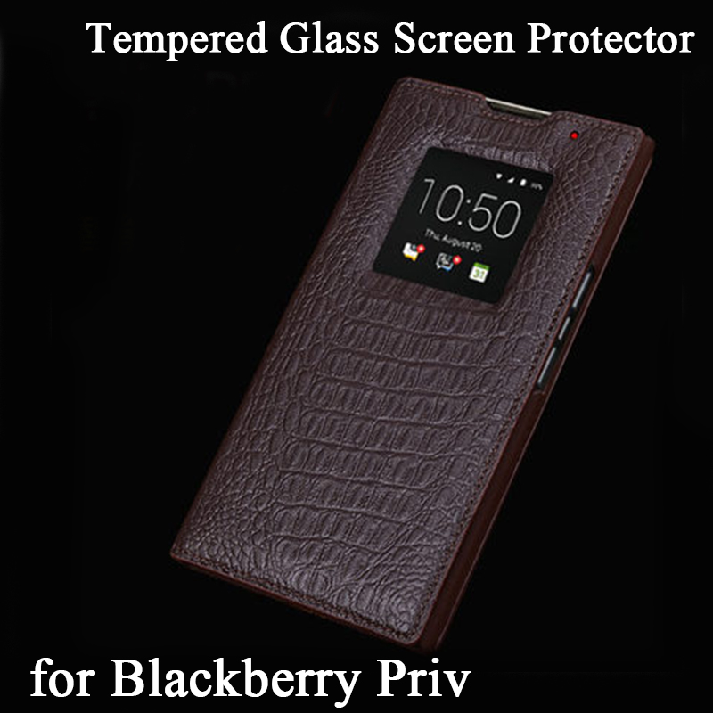 For Blackberry Priv Case Luxury Genuine Leather Case Window View Flip Phone Shell Bag with Tempered