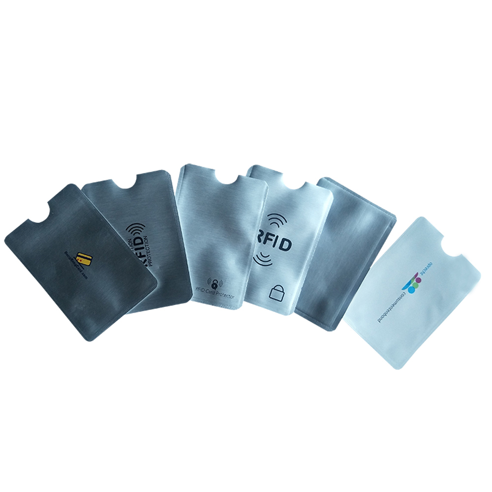 6 unids/lote Cartera de bloqueo Anti RFID Scan caja de aluminio funda de seguridad soporte mangas para pasaporte de tarjeta de crédito