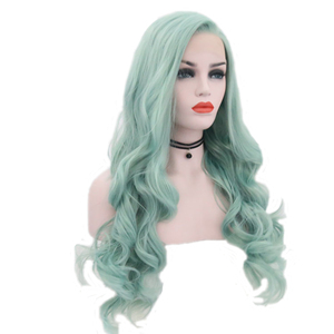 Image 3 - JOY&BEAUTY Mint Green Body Wave Synthetic Lace Front Wigs Glueless Heat Resistant Fiber Hair Natural Hairline Side Part For Wome