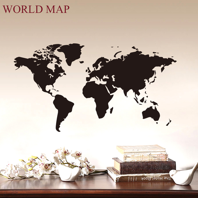 Wall Sticker Decal World Map for Living Room