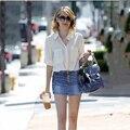 Pantalones cortos de mezclilla de las mujeres del algodón puro vaquero estilo de la vendimia Europea más el tamaño S-3XL bajo cintura delgada delgado ladies short jeans G20