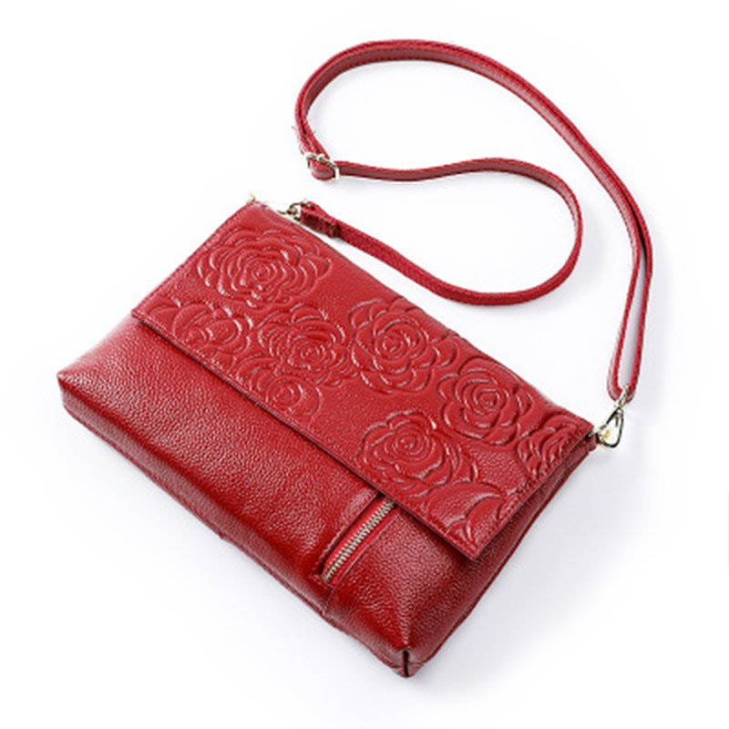 Genuine Leather Women Shoulder Bags Flower Patten Cow Leather Messenger Bags For Women Zipper Single Strap Lady Handbag