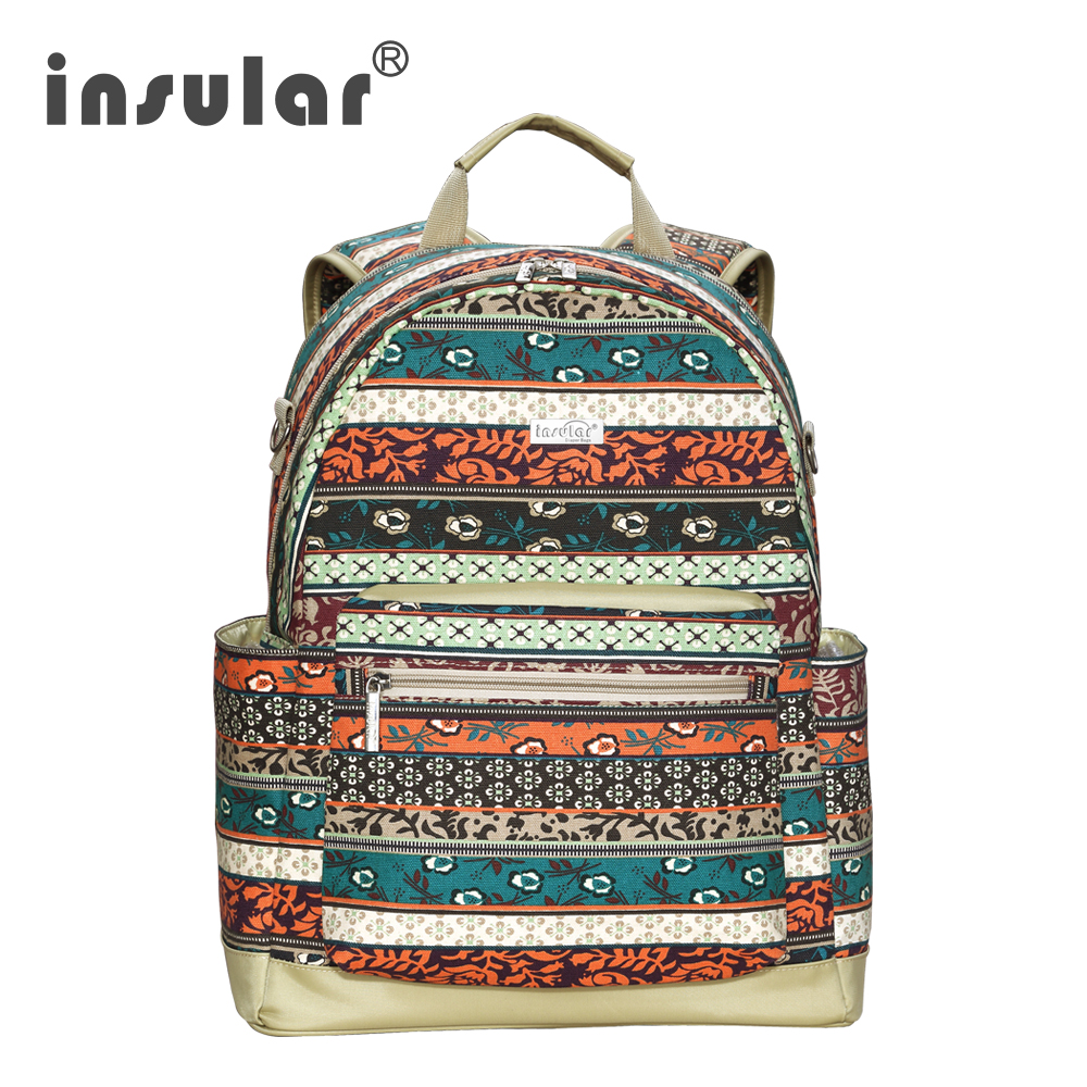 Insular Cotton Canvas Baby Diaper Bags Mommy Bag Baby Backpack Diaper Backpack Multi-function Maternity Backpack for Baby Stuff