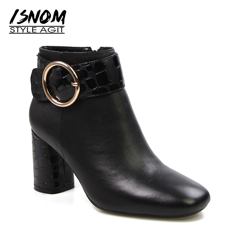 Brand Designers Buckle Strap Ankle Boots Sexy High Heels Winter Boots High Quality Genuine Leather Womens Shoes Zip Rubber 2018