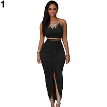 New Arrival Women Sexy Bodycon Faux Suede Two Piece Maxi Skirt Sleeveless Top Dress Set