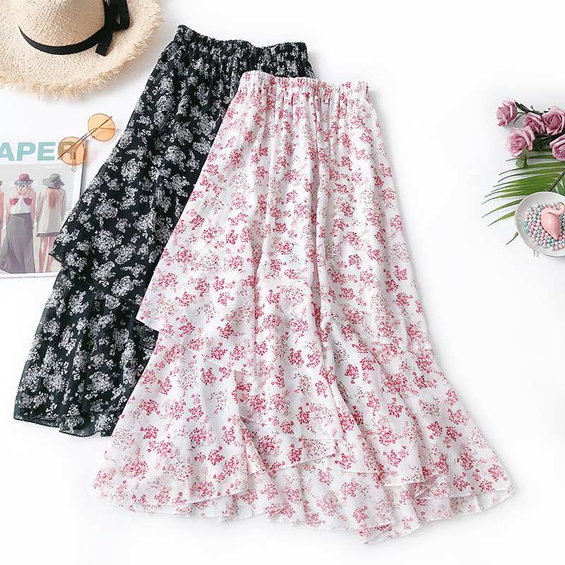 Wasteheart Black Pink White Spring Women Skirt High Waist A-Line Ankle Long Skirt Sexy Skirt Casual Ruffles Chiffon Asymmetrical Price $18.01